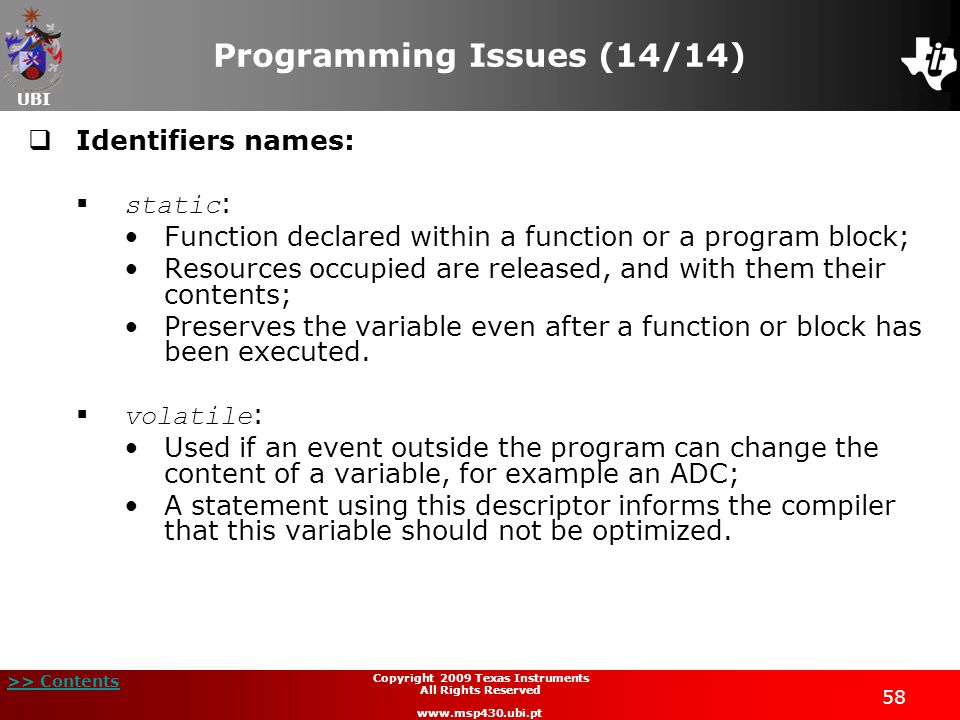 Programming Issues (14/14)