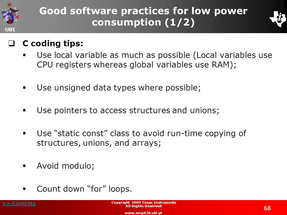 Good software practices for low power consumption (1/2)