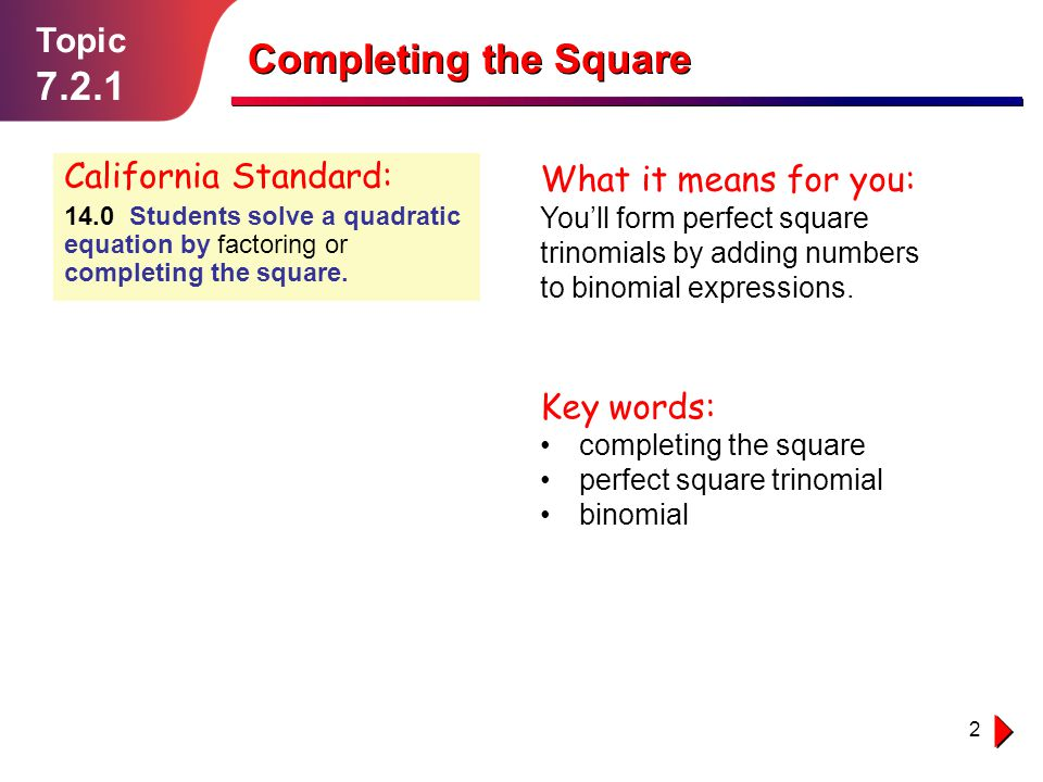 Completing the Square 7.2.1 Topic California Standard:
