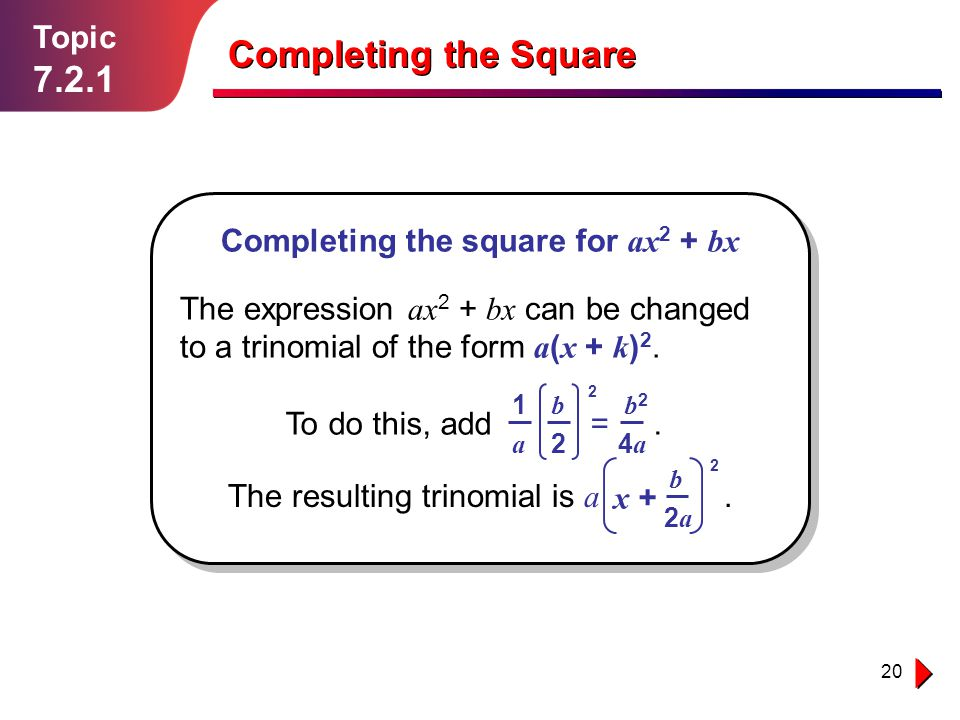 Completing the Square 7.2.1 Topic Completing the square for ax2 + bx