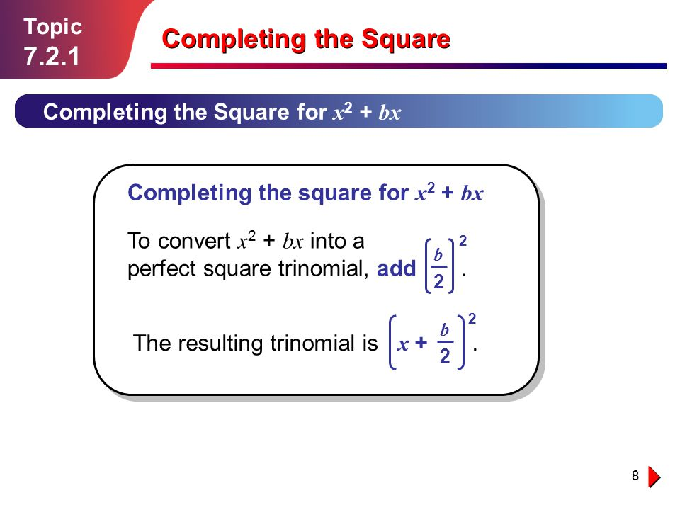 Completing the Square 7.2.1 Topic Completing the Square for x2 + bx