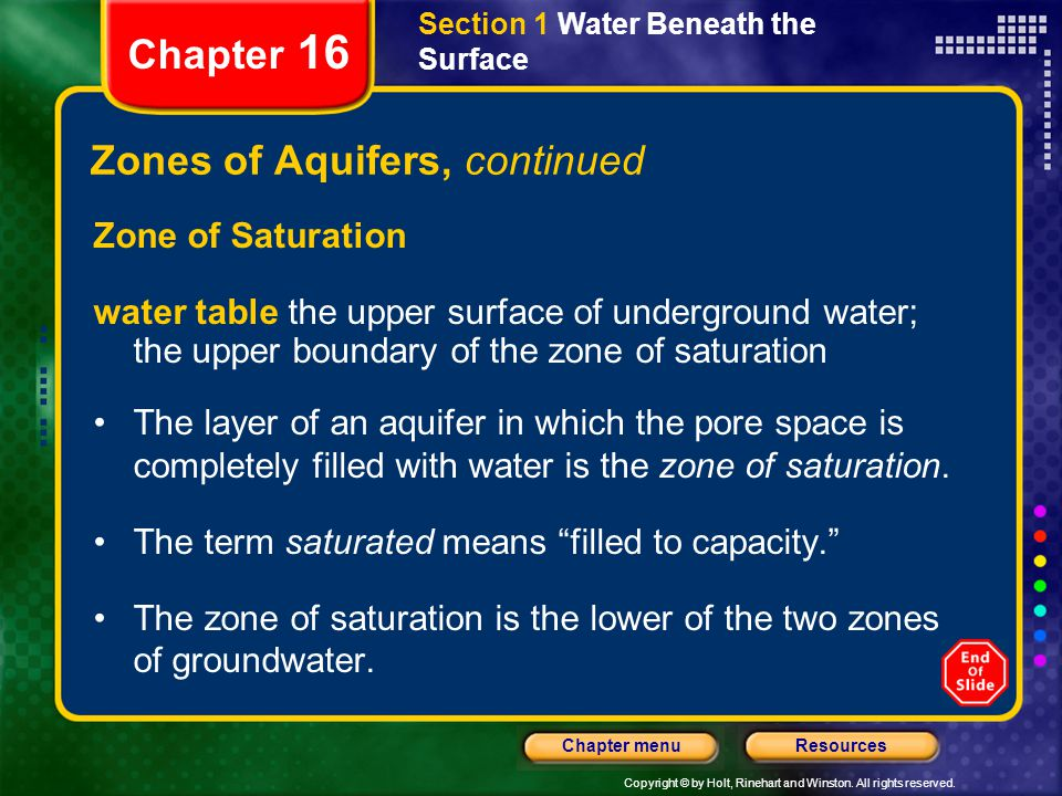 Zones of Aquifers, continued