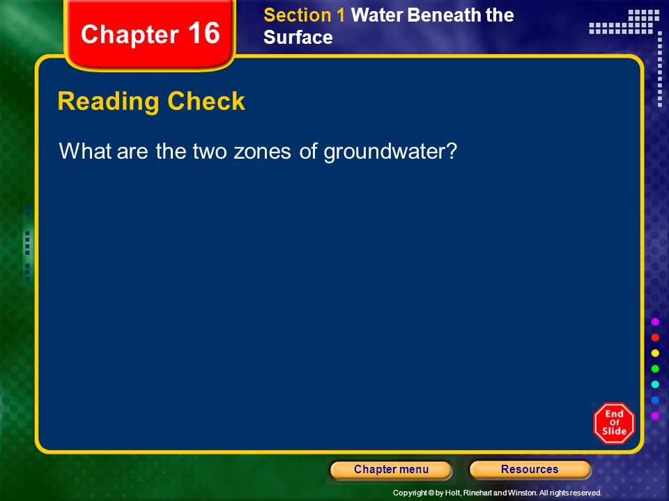 Chapter 16 Reading Check What are the two zones of groundwater
