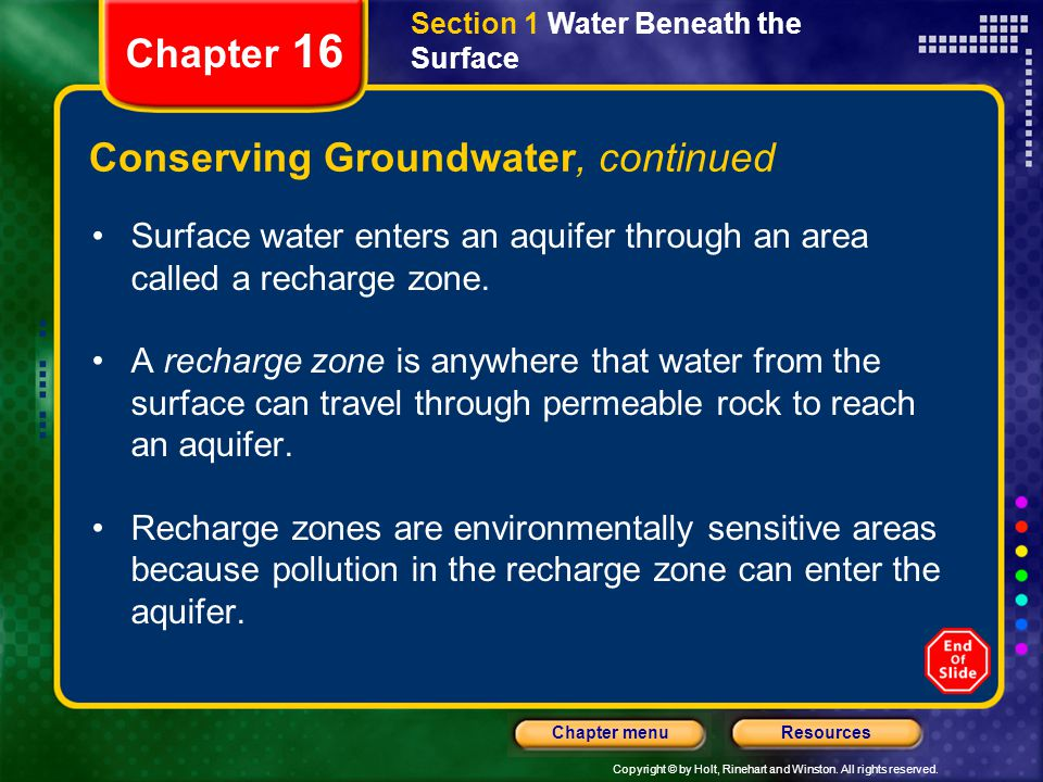 Conserving Groundwater, continued