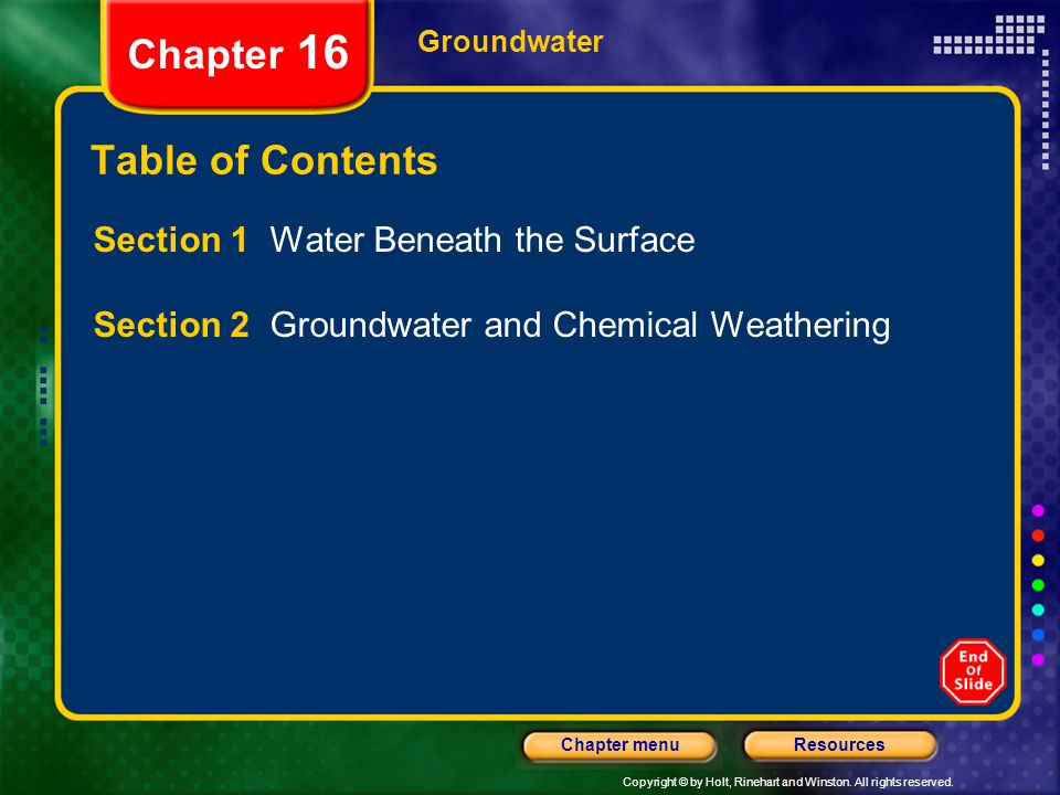 Chapter 16 Table of Contents Section 1 Water Beneath the Surface