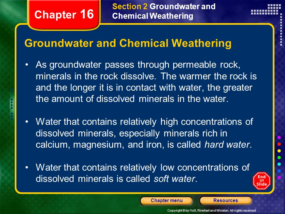Groundwater and Chemical Weathering