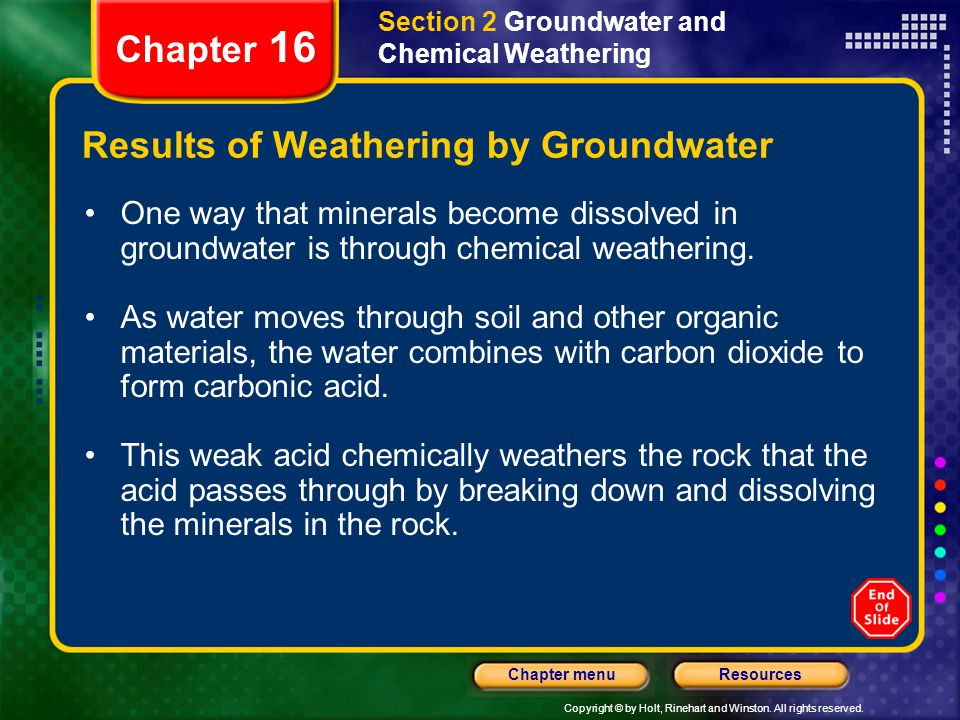 Results of Weathering by Groundwater