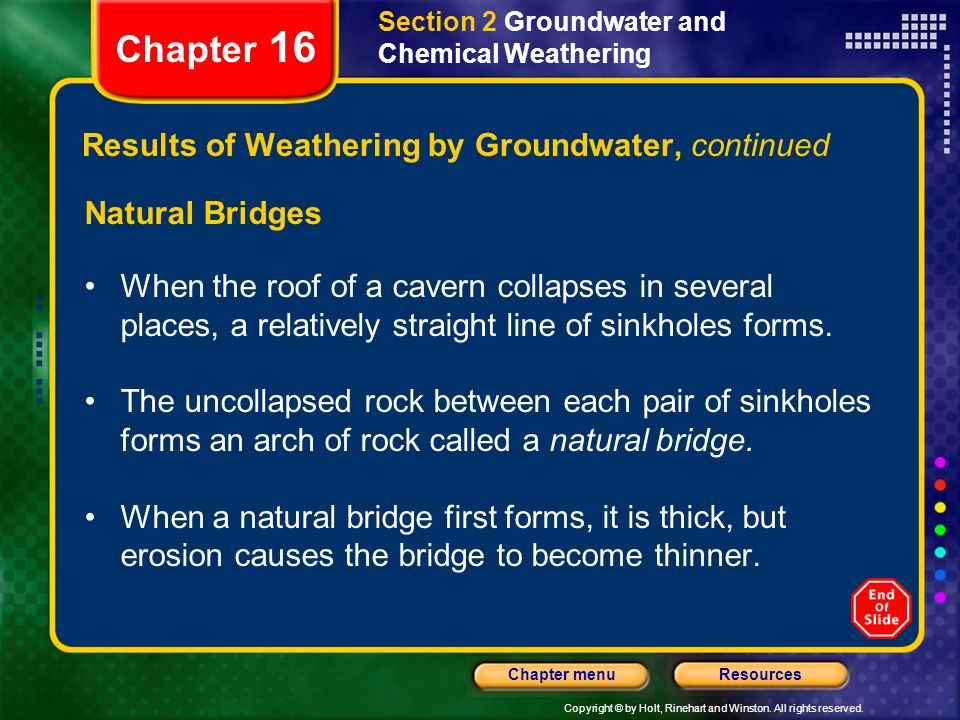 Results of Weathering by Groundwater, continued
