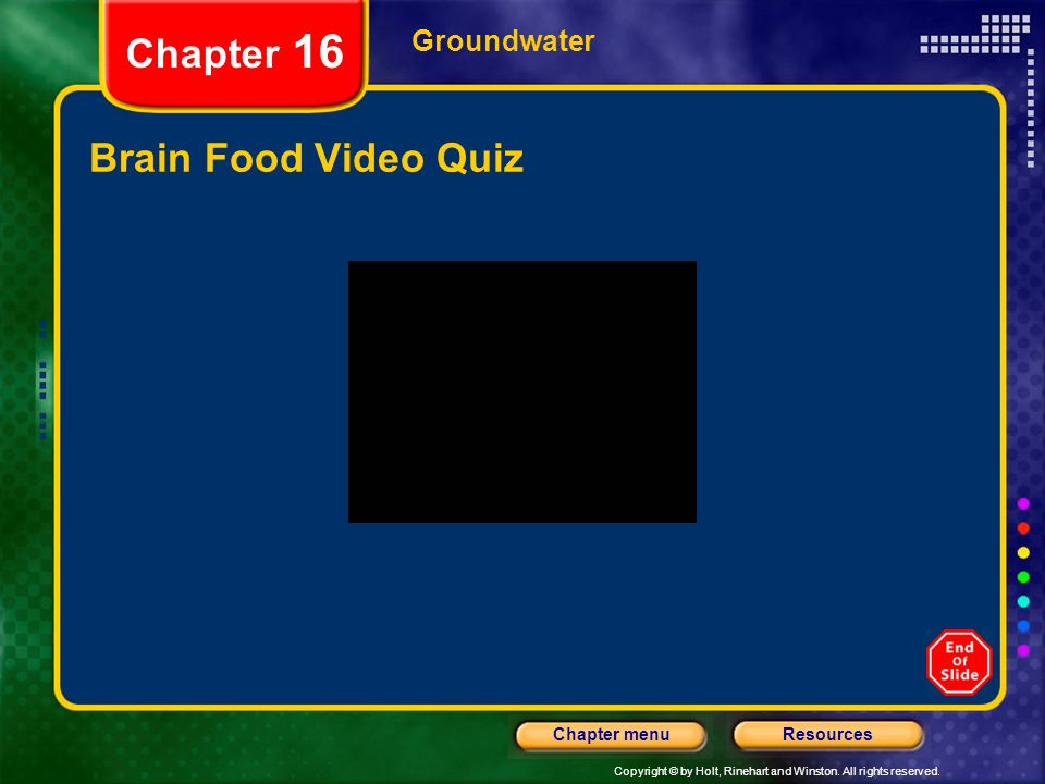 Chapter 16 Groundwater Brain Food Video Quiz