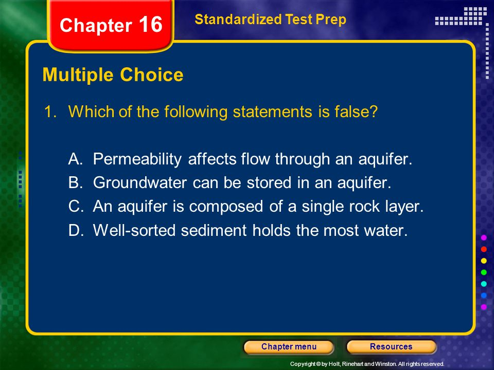 Chapter 16 Multiple Choice