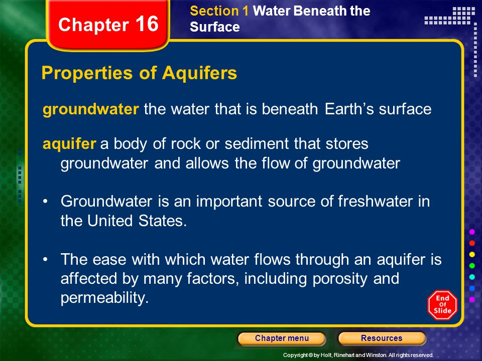 Properties of Aquifers