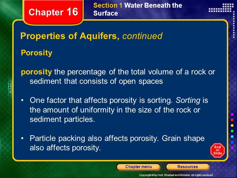 Properties of Aquifers, continued