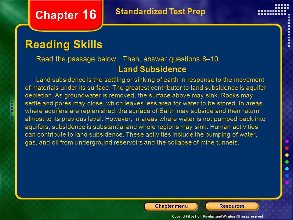 Chapter 16 Reading Skills Standardized Test Prep Land Subsidence