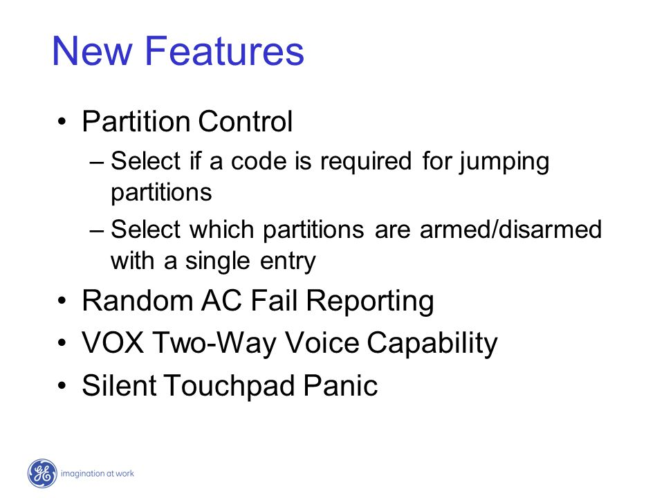 New Features Partition Control Random AC Fail Reporting