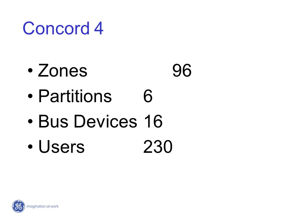 Concord 4 Zones 96 Partitions 6 Bus Devices 16 Users 230