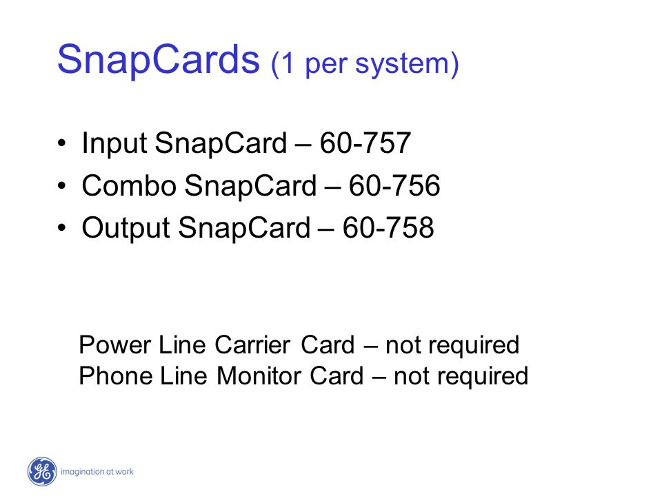 SnapCards (1 per system)