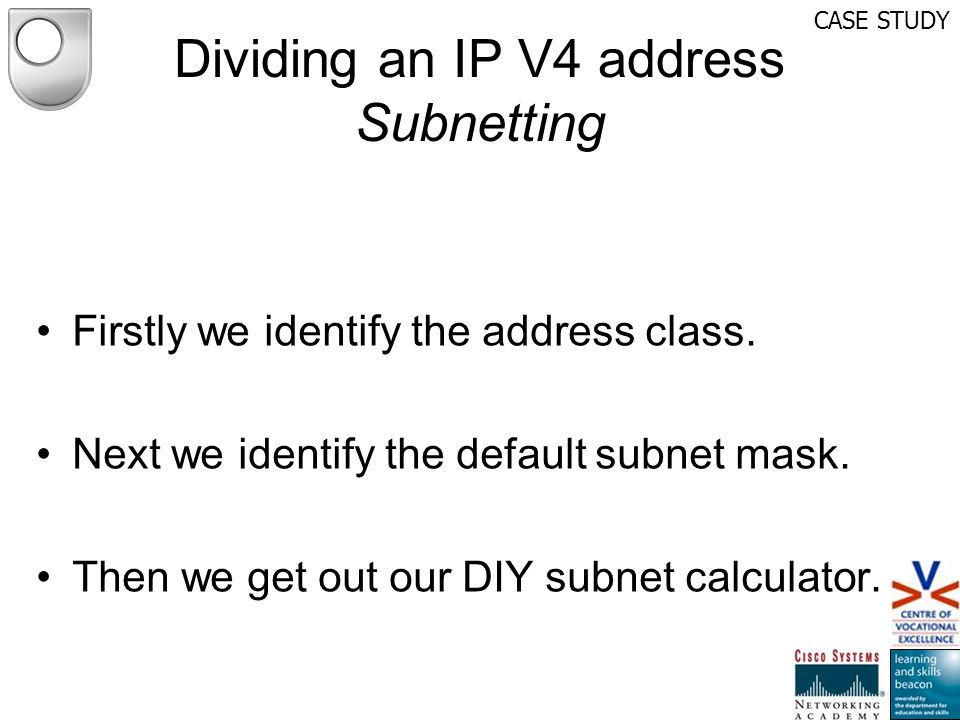Dividing an IP V4 address Subnetting