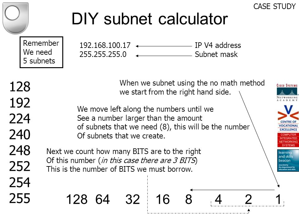 CASE STUDY DIY subnet calculator. Remember. We need. 5 subnets. 192.168.100.17. 255.255.255.0.