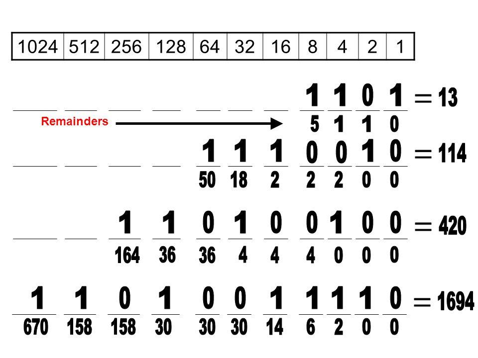 1024 512. 256. 128. 64. 32. 16. 8. 4. 2. 1. 1. 1. 1. 13. = Remainders. 5. 1. 1. 1.