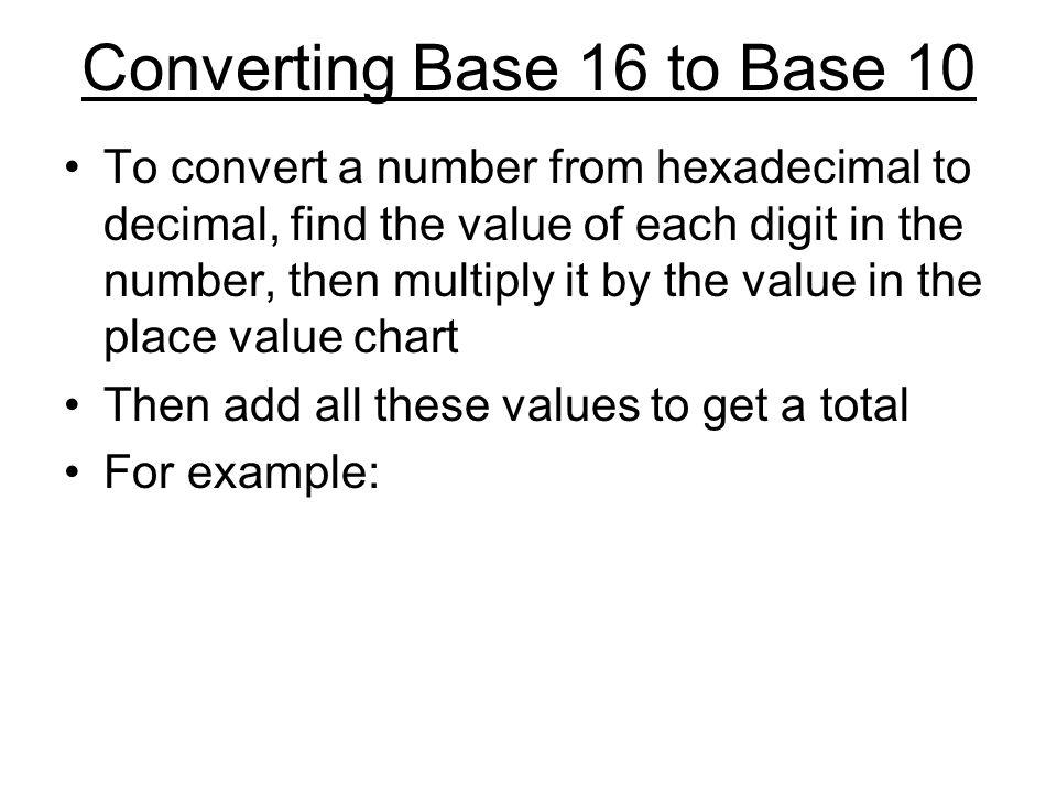 Converting Base 16 to Base 10