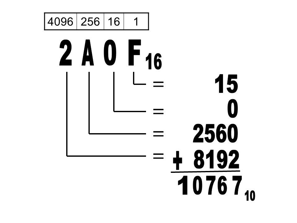 4096 256 16 1 2 A F 16 15 = = 2560 = + 8192 = 1 7 6 7 10
