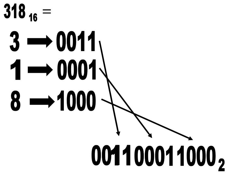 318 = 16 3 0011 1 0001 8 1000 0011 11 0001 1000 2