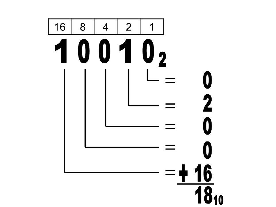 16 8 4 2 1 1 1 2 = 2 = = = + 16 = 18 10