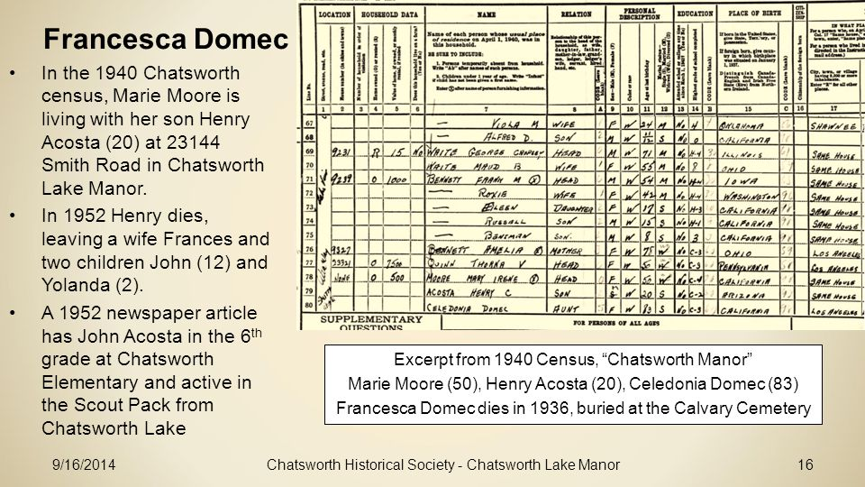 Francesca Domec In the 1940 Chatsworth census, Marie Moore is living with her son Henry Acosta (20) at 23144 Smith Road in Chatsworth Lake Manor.