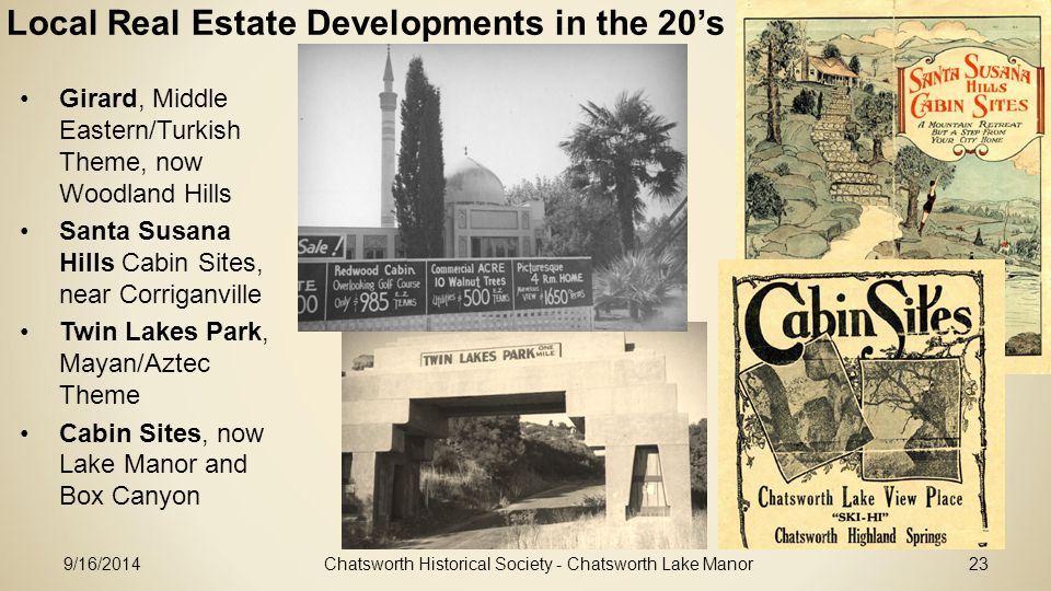 Local Real Estate Developments in the 20's