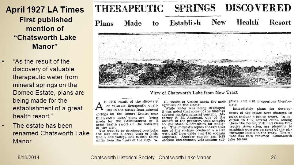 April 1927 LA Times First published mention of Chatsworth Lake Manor