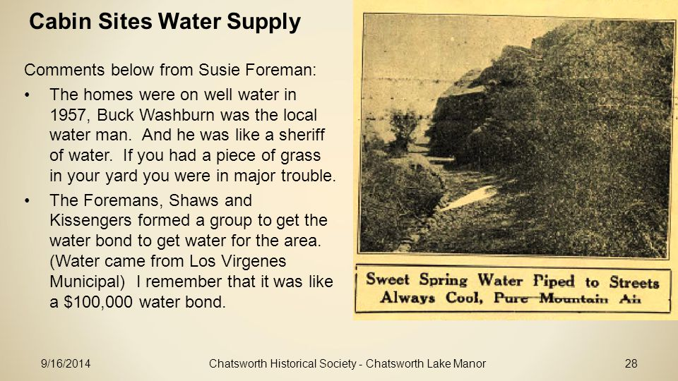 Cabin Sites Water Supply