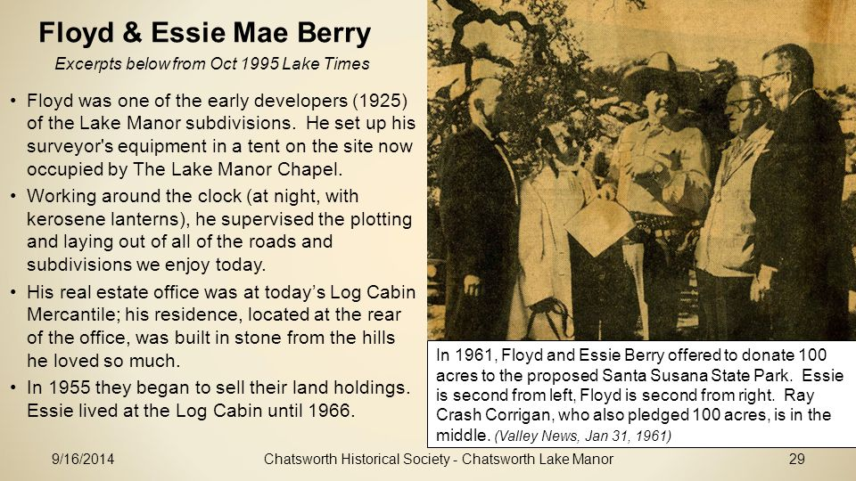 Floyd & Essie Mae Berry Excerpts below from Oct 1995 Lake Times.