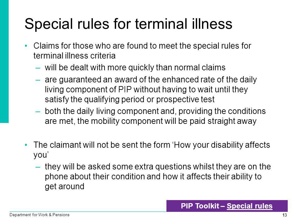 Special rules for terminal illness