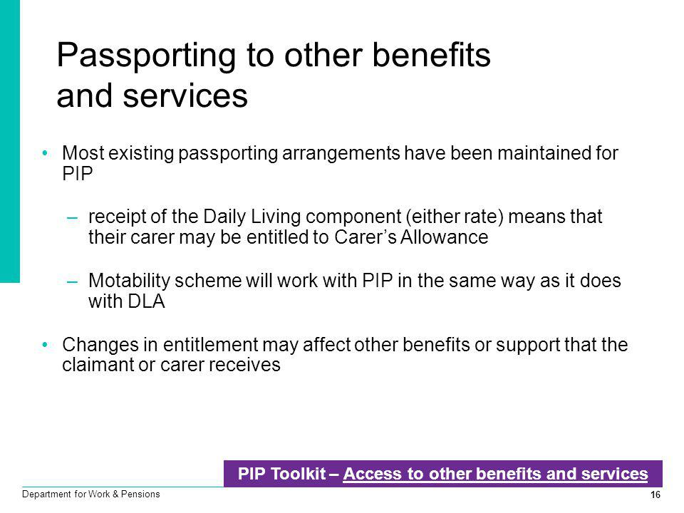 Passporting to other benefits and services