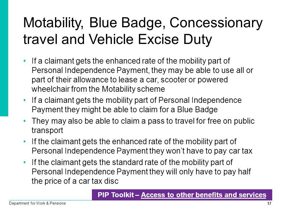 Motability, Blue Badge, Concessionary travel and Vehicle Excise Duty