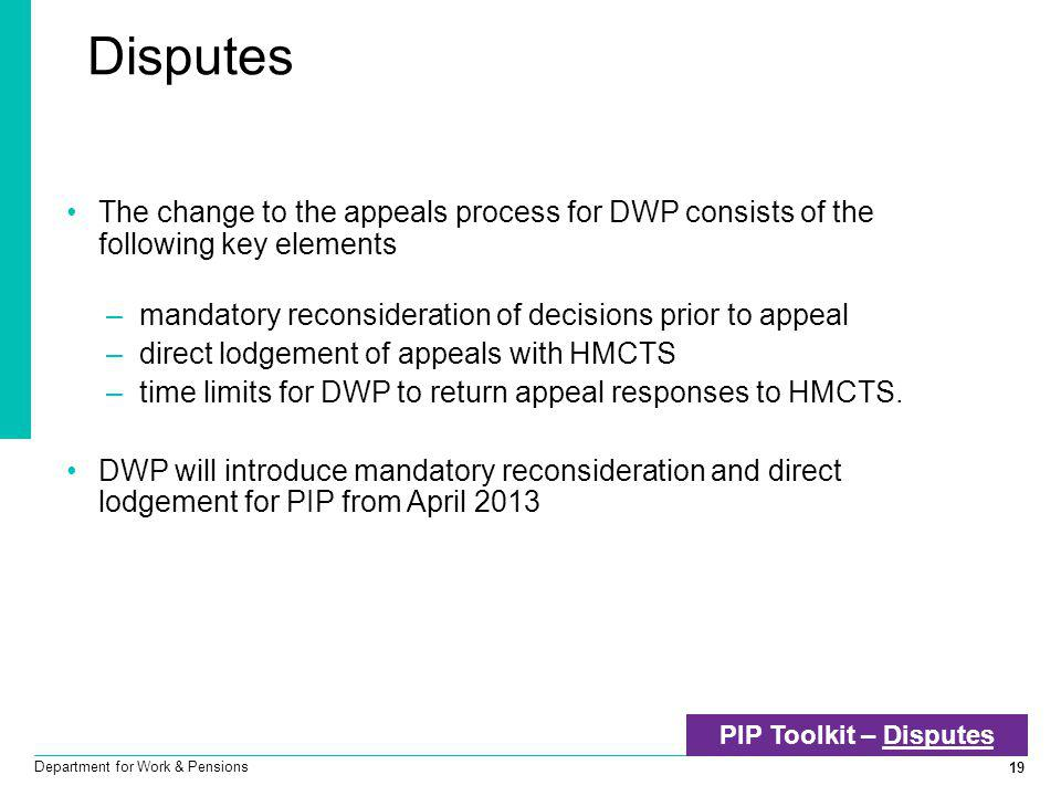 Disputes The change to the appeals process for DWP consists of the following key elements. mandatory reconsideration of decisions prior to appeal.