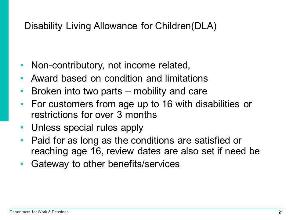 Disability Living Allowance for Children(DLA)