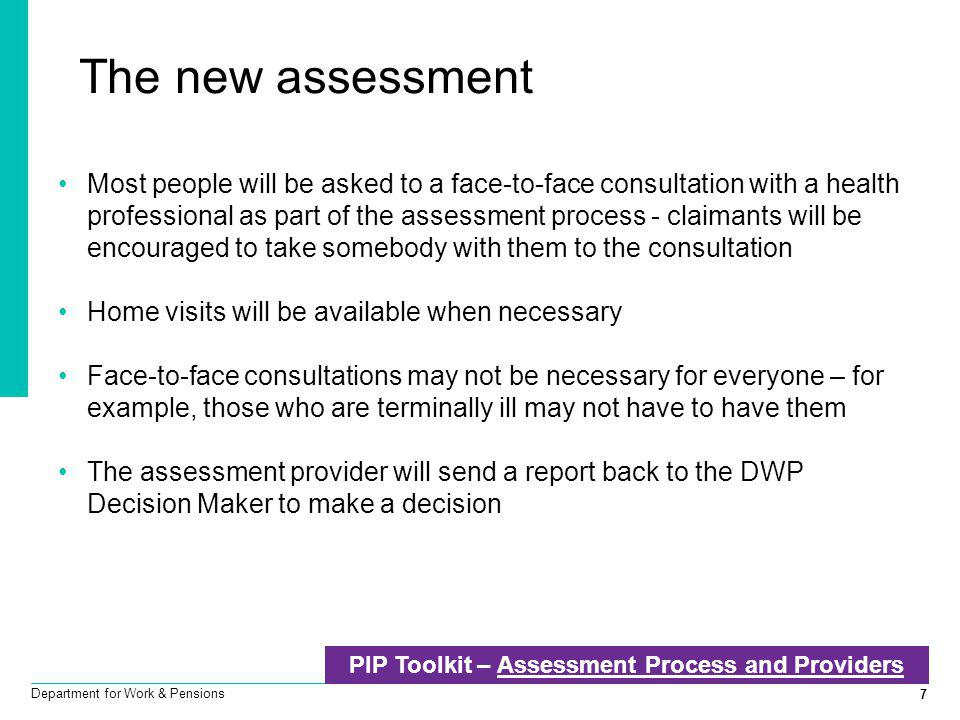 PIP Toolkit – Assessment Process and Providers