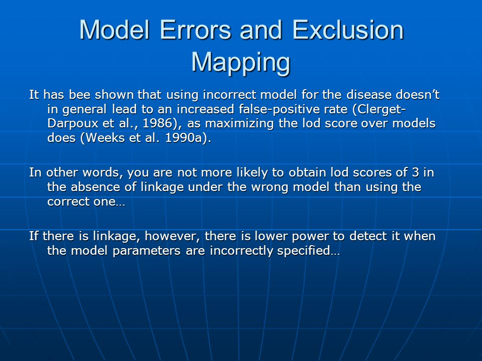 Model Errors and Exclusion Mapping