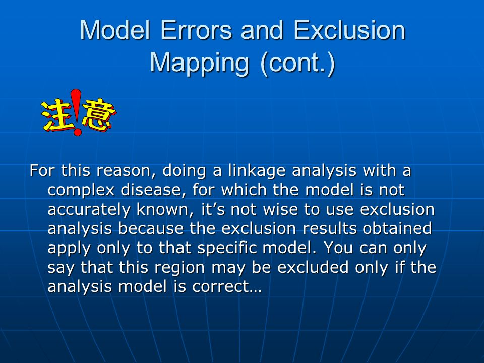 Model Errors and Exclusion Mapping (cont.)
