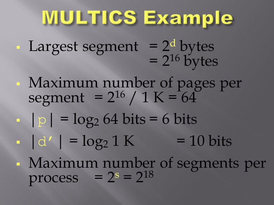 MULTICS Example Largest segment = 2d bytes = 216 bytes