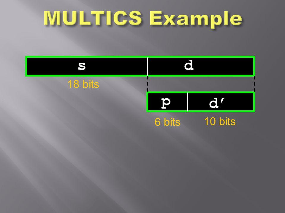 MULTICS Example s d 18 bits p d' 6 bits 10 bits