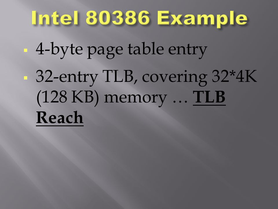 Intel 80386 Example 4-byte page table entry