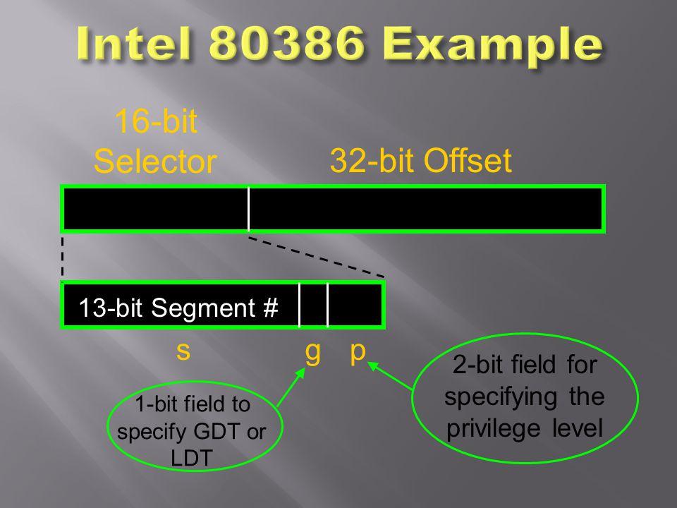 Intel 80386 Example 16-bit Selector 32-bit Offset s g p