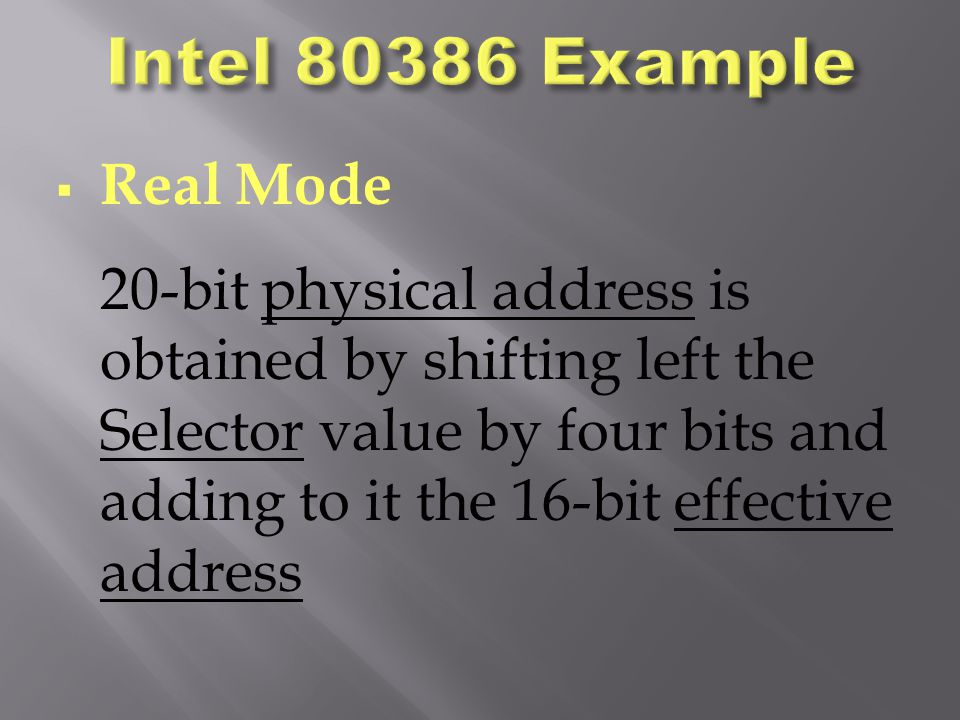 Intel 80386 Example Real Mode