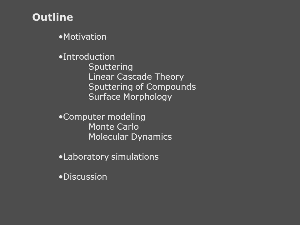 Outline Motivation Introduction Sputtering Linear Cascade Theory