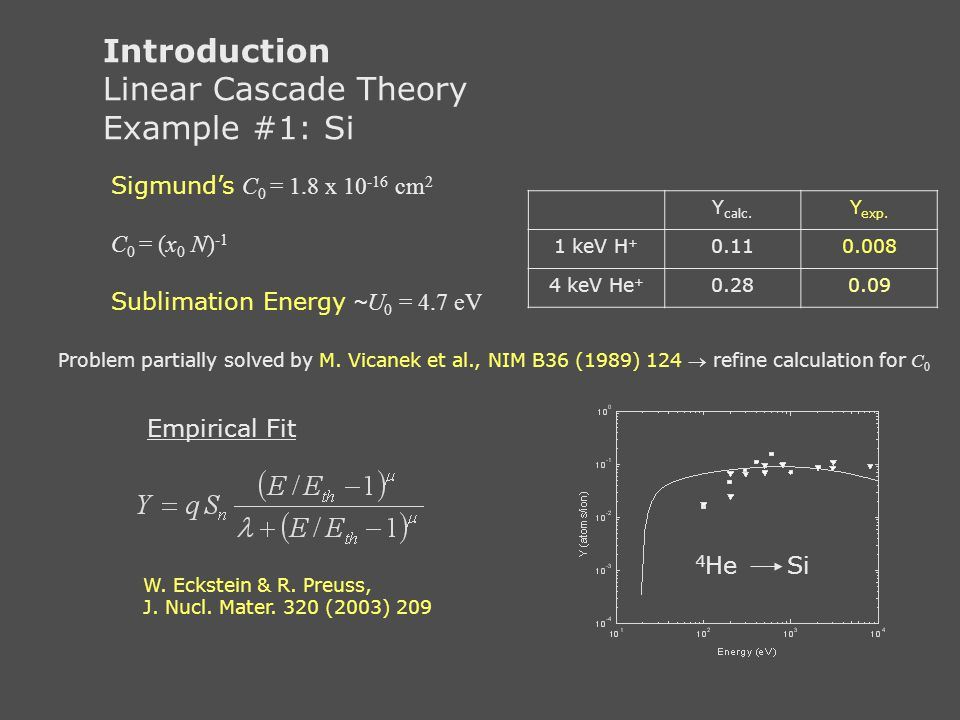 Introduction Linear Cascade Theory Example #1: Si