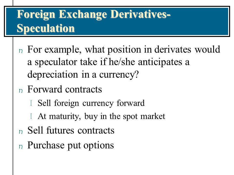 Foreign Exchange Derivatives-Speculation