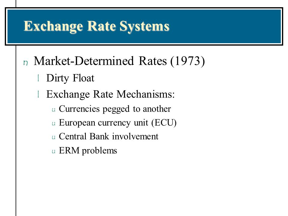 Exchange Rate Systems Market-Determined Rates (1973) Dirty Float