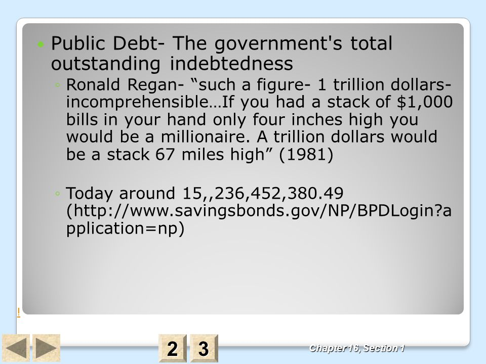 2 3 Public Debt- The government s total outstanding indebtedness